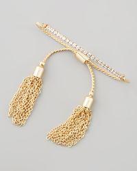 Chamak by Priya Kakkar - Sliding Tassel Bar Bracelet Gold - Lyst