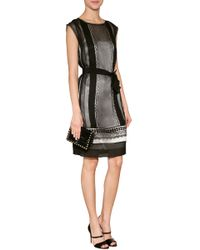 Alberta Ferretti Sheer Overlay Shift with Lace Detailing - Lyst