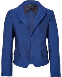 Jil Sander Wool-Silk Cropped Blazer - Lyst