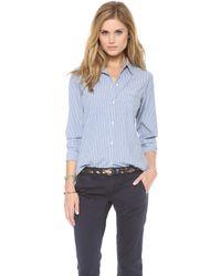 Nili Lotan - Novelty Chambray Stripe Shirt - Lyst