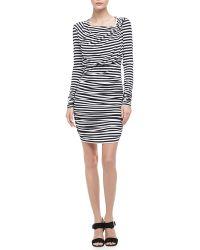 Rebecca Minkoff Lori Ruched Striped Dress - Lyst