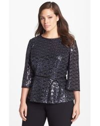 Alex Evenings Sequin Blouse with Satin Tie - Lyst