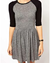Asos Skater Dress in Texture with Baseball Sleeve - Lyst
