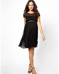 Asos Maternity Lace Skater Dress With Belt - Lyst