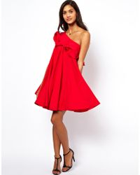 Asos One Shoulder Ruffle Swing Dress - Lyst