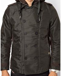 Diesel Diesel Double Breasted Coat Watagan Hooded - Lyst