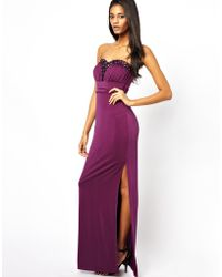 Lipsy Bandeau Maxi Dress with Embellishment - Lyst