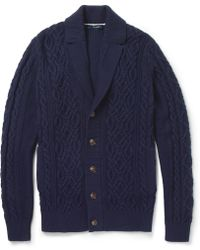 Façonnable | Cable and Ribbed Knit Cotton and Cashmere Blend Cardigan | Lyst