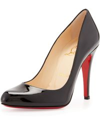 Christian Louboutin Decollette Patent Red Sole Pump Black - Lyst
