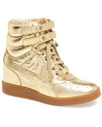 Puma Rime Gold Sky Wedge Sneaker - Lyst