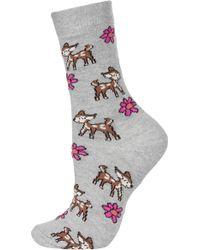 Topshop Floral Deers Ankle Socks - Lyst