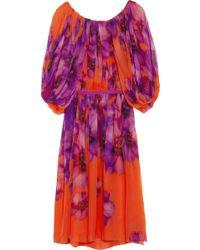Giambattista Valli Pleated Floral print Silk chiffon Dress - Lyst