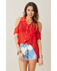 Blu Moon Cold Shoulder Top with Pocket - Lyst