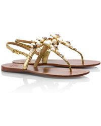 Tory Burch Metallic Jameson Flat Thong Sandal - Lyst