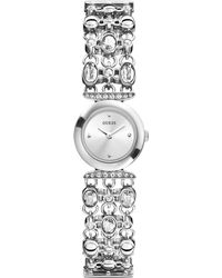 Guess Watch Womens Crystal-accent Silver-tone Bracelet 21mm - Lyst
