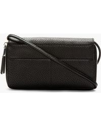 Kara - Black Pebbled Leather Compact Wallet - Lyst