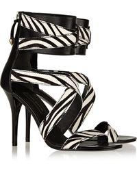 Balmain Zebra-print Calf Hair and Leather Sandals - Lyst