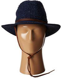 San Diego Hat Company Pbf7010 Crochet Panama Fedora W/ Leather Chin Cord - Lyst
