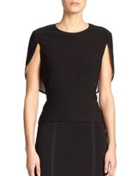 Yigal Azrouël Vented Cape Blouse black - Lyst