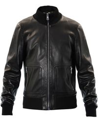 Gucci Leather Bomber Jacket black - Lyst