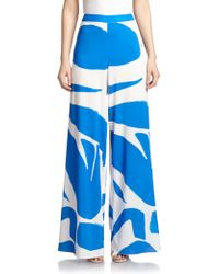 Alice + Olivia Printed High-Waisted Wide-Leg Pants - Lyst