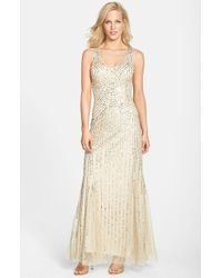Aidan Mattox Sleeveless Embroidered Mesh Gown - Lyst