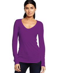 Michael Stars Long Sleeve V-Neck With Raw Edges - Lyst