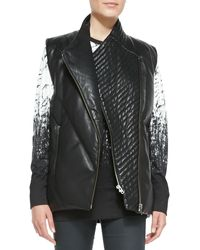 Helmut Lang Leather Frontzip Puffer Vest - Lyst
