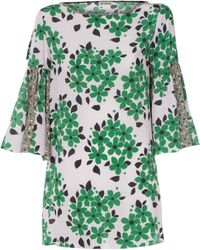 Suno | Green Floral Print Flutter Sleeve Tunic | Lyst