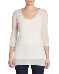 James Perse Rolled V-neck Cashmere Pullover - Lyst