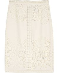 Sea Lace and Eyelet Pencil Skirt - Lyst
