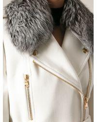 Emilio Pucci - Fox Fur Trimmed Belted Coat - Lyst