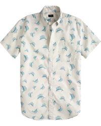 J.Crew Secret Wash Short-Sleeve Shirt In Sailfish Print - Lyst