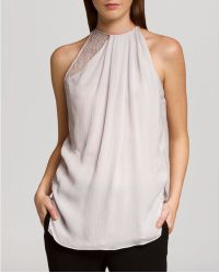 Halston Heritage Top Sleeveless Gathered Neck Lace - Lyst