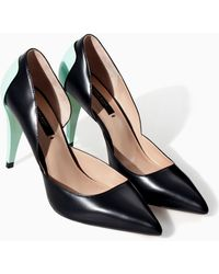 Zara Combined Leather High Heel Court Shoe - Lyst