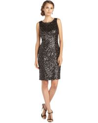 Sue Wong Black and Gold Woven Sequin Sleeveless Dress - Lyst
