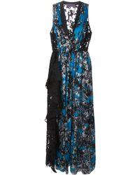 Emanuel Ungaro Frilled Detail Printed Long Dress - Lyst