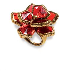 Oscar de la Renta Wildflower Cocktail Ring red - Lyst