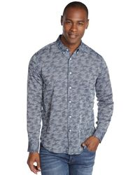 Slate & Stone - Blue Camouflage Long Sleeve Button Front Shirt - Lyst