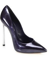 Casadei Blade Metal-Heeled Metallic Leather Pumps blue - Lyst