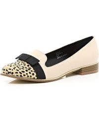 River Island Beige Bow Front Leopard Toe Cap Slipper Shoes - Lyst