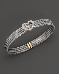 Charriol Yellow Gold And Stainless Steel Heart Bangle Bracelet - Lyst