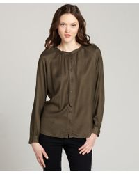 Love Sam Army Green Button Front Long Sleeve Blouse - Lyst