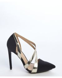 L.A.M.B. Black And Gold Canvas And Leather 'Lynn Ii' Pumps - Lyst