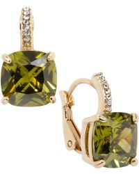 City By City - Gold-tone Square Olivine And Cubic Zirconia Earrings (12 Ct. T.w.) - Lyst