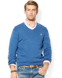Ralph Lauren  Pima Cotton V-Neck Sweater - Lyst