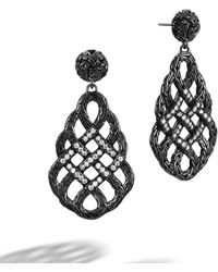 John Hardy Woven Braided Saddle Drop Earrings with Black Ruthenium Plating - Lyst