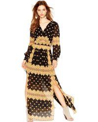 Jessica Simpson Long Sleeve Printed Chiffon Maxi - Lyst