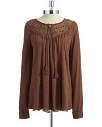 Vintage America Embroidered Peasant Top - Lyst
