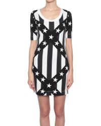 Love Moschino Cotton Jersey Dress With Star Stripes Print - Lyst